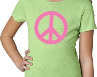 Pink Peace Girls Tee T-Shirt PINKPEACE-3712