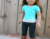 Blue/Turquoise Tee Shirt with Short Sleeves, Pocket, and Lace Trim for American Girl Dolls