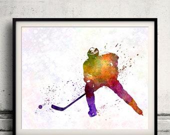Hockey skater in watercolor - poster watercolor wall art splatter sport illustration print Glicée artistic - SKU 1839