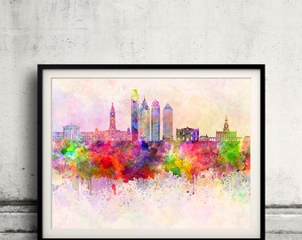 Philadelphia skyline in watercolor background - Poster Digital Wall art Illustration Print Art Decorative - SKU 1922