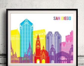 San Diego pop art skyline - Fine Art Print Glicee Poster Gift Illustration Pop Art Colorful Landmarks - SKU 1981