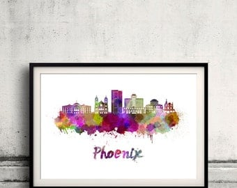 Phoenix skyline in watercolor over white background with name of city - Poster Wall art Illustration Print - SKU 2071