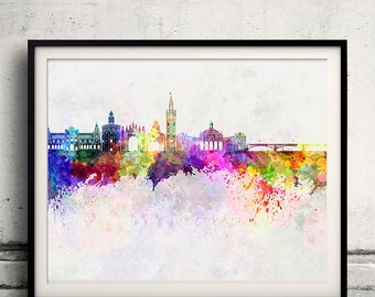 Seville skyline in watercolor background - Poster Digital Wall art Illustration Print Art Decorative - SKU 1463