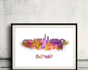 Odense skyline in watercolor over white background with name of city - Poster Wall art Illustration Print - SKU 1615