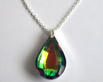 Crystal Teardrop Necklace ~ Rainbow Crystal Necklace ~ Rainbow Crystal Jewellery ~ Crystal Pendant