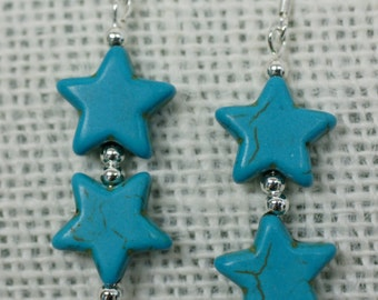 Star shaped faux turquoise bead dangle earrings