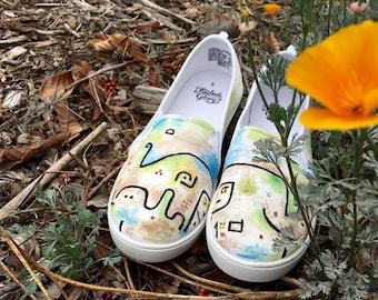 Paul Klee Insula Dulcamara Custom Hand-Painted Shoes // modern art // custom shoes