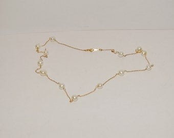 Free Shipping 14K Pearl Station Necklace.