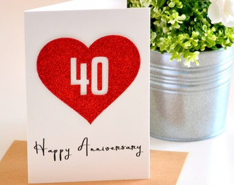 40th Anniversary Card, Ruby Anniversary Gift, Gift For Couples, 40 Year Anniversary Couples Gift, Parents 40th, Personalised, Love Heart Red