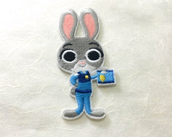 Rabbit  Iron on Patch(M2) - Zootopia Cartoon Applique Embroidered Iron on Patch - Size 4.0x9.1 cm