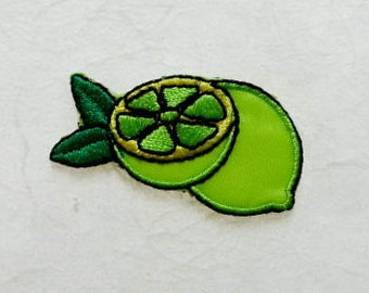 Green lemon Iron on Patch(S1) - Green lemon Applique Embroidered Iron on Patch