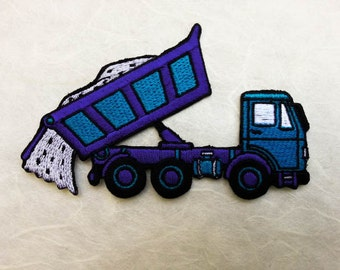 Blue Dump Truck Iron on patch (L) 11 x 6.7 cm - Dump Truck Applique Embroidered Iron on Patch