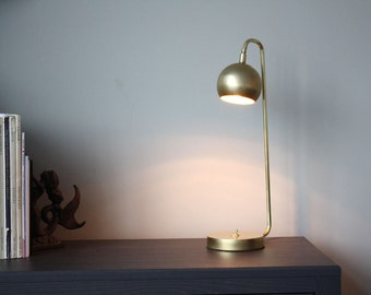 Modern brass desk lamp - Quiet Sid - Task lamp -  Mid century Modern lighting - Brass Scandinavian LED lamp