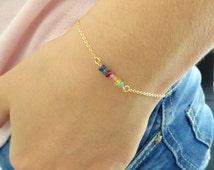 Chakra bracelet, Gemstone bracelet, Genuine Emerald, Ruby, Sapphire bracelet, Bridesmaid bracelet Gold fill, Sterling Silver, Rose gold fill