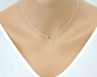 Tiny ruby necklace, sterling silver, 14k gold fill, perfect layering necklace, Bridesmaid necklace, July birthstone