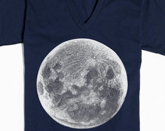 Moon T-shirt - Moon Shirt V-neck - Screen Print Shirt - Gift for Women - V-neck T-shirt - Graphic Tee - Moonstruck