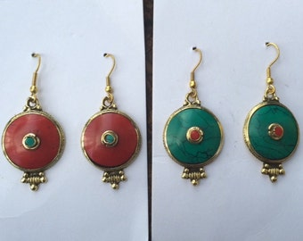 Turquoise or Red Earrings