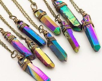 Raw Rainbow Titanium Quartz Necklace Iridescent Crystal Necklace Rough Metallic Aura Quartz Point Pendant Boho Style Layering Necklace