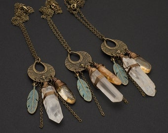 Rock Crystal Citrine Necklace Bronze Verdigris Patina Feather Crystal Point Necklace Circle Stud Pendant Layer Necklace November Birthstone