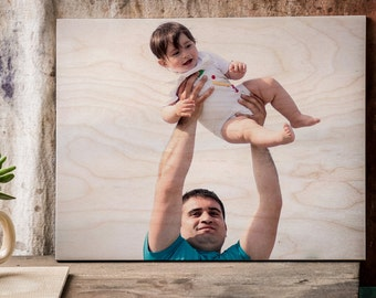 Photo Gift Dad, Photo On Wood, New Dad Gift, Father Photo Gift, Personalized Gift For Dad, Personalized Dad, Gifts For Dad, Photo Gift Ideas