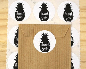Lot of 48 stickers - decals - Thank you - pineapple