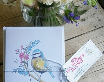 Pack of four Blue Tit cards. bird cards. pack of greeting cards. hand painted blue tit