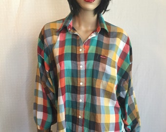 Vintage SASSON Shirt 1970s 1980s -70s 80s Plaid Shirt - Valley Girl Shirt - New Wave Blouse Snap Buttons