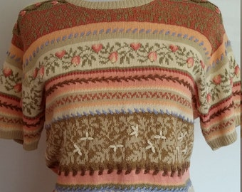Embroidered sweater, S, M, Talbots sweater, floral stripe sweater, brown sweater, pink sweater, floral sweater, pastel sweater, fall sweater