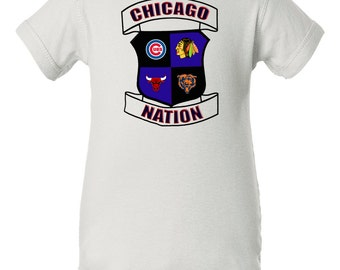 Chicago Nation Baby Bodysuit, Chicago Sports Mashup Baby Bodysuit, Cubs Baby, Blackhawks Baby, Bulls Baby, Chicago Bears Baby Clothes