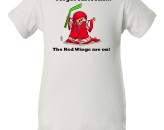 Detroit Red Wings Baby Bodysuit, Forget Cartoons the Red Wings are On, Detroit Red Wings Baby Clothes