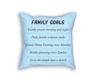 Family Goals Throw Pillow, Family Goals Pillow, Goals Throw Pillow, Goals Pillow Case, 18x18 Decorative Pillow