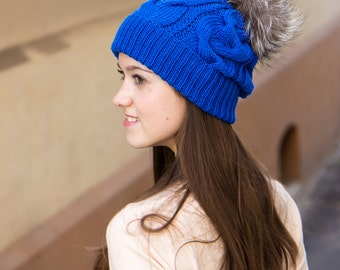 Fur Pompom Hat In Cobalt Blue - Cable Knit Hat With Pompom - Winter Hat With Fur Pom Pom - Real Fur Bobble Hat