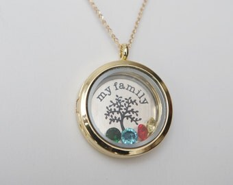 My Family Floating Memory Locket  Personalized Family Neclace Memory Locket Family Tree locket  Mother's Day Gifts For Grandma Mommy Jewelry