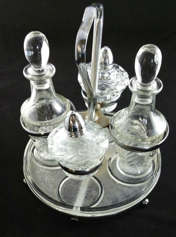 Vintage 5 piece cruet set salt and pepper set oil and - Salt and pepper cruet set ...