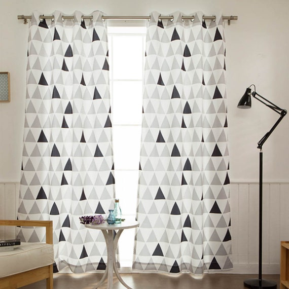 Geometric Blackout Curtains White Eyelet Ring Top By Enapremium