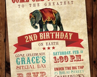 Circus Invitation/Circus Birthday Invitation/Carnival Invitation/Carnival Birthday invitation/Vintage Circus Invitation/Circus Theme/#001