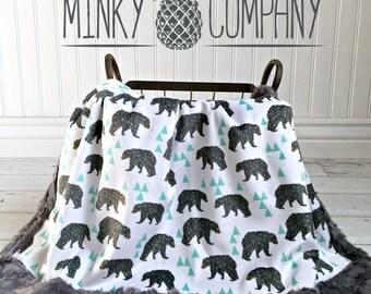 Bear Baby Blanket - Mint Geo Bear - Designer Minky - Grey