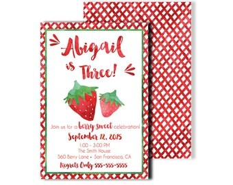 Strawberry Birthday Invitation - 5x7 5x7 Customized Printable berry sweet red gingham watercolor preppy whimsical green modern rustic