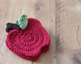 Apple Coasters, Crochet Apple Coaster, Teacher Gift, Red Apple Coasters, Crochet Coasters, Crochet Apple Coasters, Red Apple Coasters, Apple
