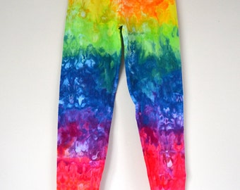 Ladies Tie Dye Full Length Leggings Rainbow Ice Dye Sizes 8-16, Custom Made