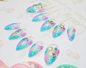 Japanese kawaii 3D nail art false nail, fake nails,mermaid nail, blue, purple, glitter, shell, cosplay, party, lolita accessory, cosplay