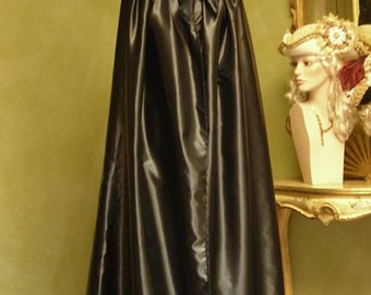 Black Saten Cape for Women with Hood - Handmade in Venice, Italy - Very Warm M03