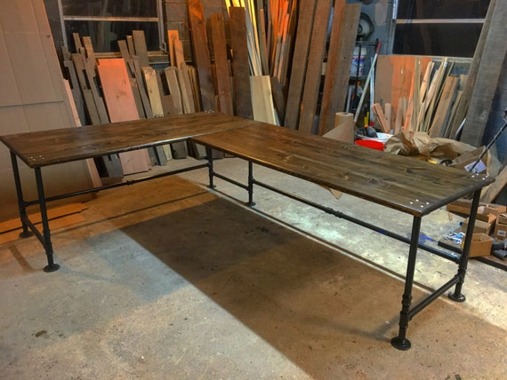 industrial pipe l shaped desk. Black Bedroom Furniture Sets. Home Design Ideas