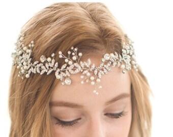 Bridal Vine, Bridal Wreath, Silver Leaf Vine, Rhinestone Vine, Gold Leaf Vine, Pearl Vine, Bridal Headpiece, Bridal Headband, Bridal Hair