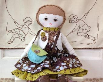 Fabric Rag Doll With Doll Clothes / Handmade Rag Doll / Cloth Doll With Wardrobe / Custom Made Dolls / Rag Doll / Dolls / Ragdolls Handmade