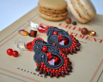 Handmade Fire and Ash Soutche Earrings