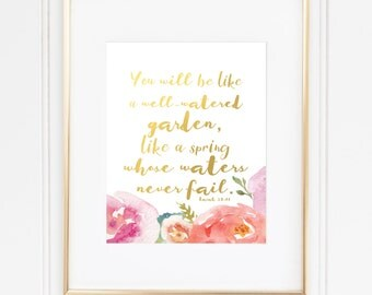 Isaiah 58 Bible Verse Watercolor Gold Foil Art Print. Well-Watered Garden & Spring. Christian Inspirational Wall Decor Home, Office, Nursery