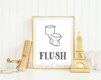 Flush Bathroom Printable. Bathroom Wall Art Printable.