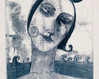 Like A Fish out of Water, original art, monotype, monoprint, fish, sea