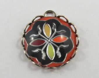 Flower With Colourful Enamel Bubble Sterling Silver Vintage Charm For Bracelet